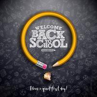 Volta para escola design com lápis de grafite e tipografia letras em fundo preto lousa. Ilustração vetorial de escola com mão desenhada doodles para cartão vetor