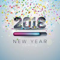 Ilustração 2018 de vinda do ano novo com número 3d e barra do progresso no fundo brilhante dos confetes. Vector Holiday Design para Premium Greeting Card, convite para festa ou Promo Banner.