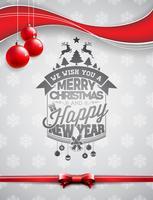 Vector a ilustração do feriado do Feliz Natal e do ano novo feliz com projeto tipográfico e as bolas de vidro no fundo dos flocos de neve.