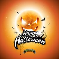 Vector a ilustração feliz de Dia das Bruxas com elementos tipográficos e a lua da abóbora no fundo alaranjado.