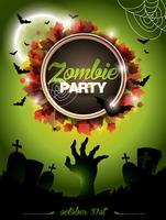 Vector a ilustração em um tema do partido do zombi de Dia das Bruxas no fundo verde.