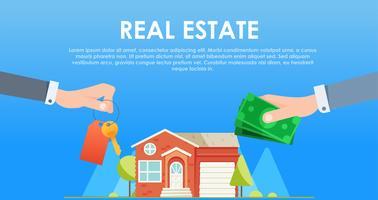 Troca de dinheiro pelas chaves da casa vetor