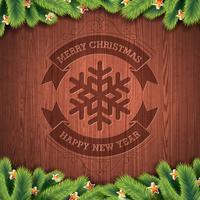 Feliz Natal e feliz ano novo design tipográfico com abeto em fundo de textura de madeira.