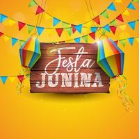 Ilustração de Festa Junina com bandeiras do partido e lanterna de papel no fundo amarelo. Vector Brazil June Festival Design para cartão, convite ou cartaz de férias.