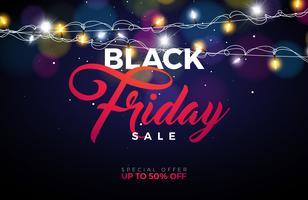 Ilustração preta do vetor da venda de sexta-feira com a festão da iluminação no fundo brilhante. Modelo de Design de promoção para Banner ou Poster.