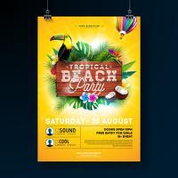 Vector verão praia festa Flyer Design com elementos tipográficos em fundo de textura de madeira. Plantas tropicais, flor, pássaro tucano, coco e balão de ar com céu azul nublado