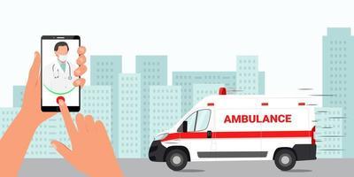 chamando um médico por telefone. a ambulância está de plantão. ilustração vetorial vetor