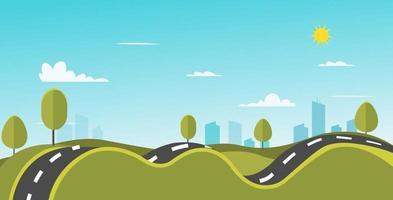 paisagem da natureza com ilustração do vetor da estrada e da cidade. colinas curvas e natureza da rua. Cena do parque com a cidade