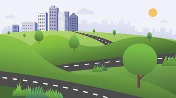 bela cena da natureza com estrada, colinas verdes e ilustração do vetor do fundo da cidade. Caminho da natureza para a cidade com o céu de fundo.