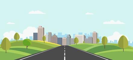 colinas paisagem com paisagem urbana no fundo vector illustration.public parque e cidade com céu background.beautiful cena da natureza com estrada para a cidade.