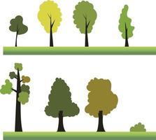 ilustração de elemento de design de treea plana conjunto vector.plant definido na paisagem de cena grass.nature com árvore vetor