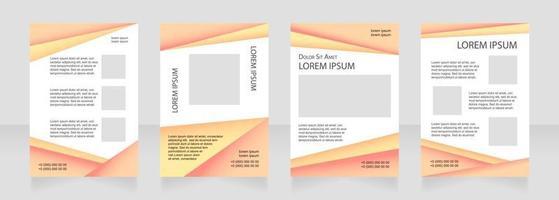 design de layout de brochura em branco laranja. folhas promocionais. modelo de cartaz vertical definido com espaço vazio da cópia para o texto. coleta de relatórios corporativos pré-fabricados. páginas de papel de folheto editáveis vetor
