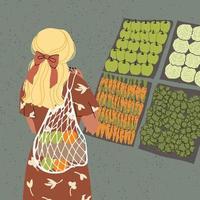 ilustração em vetor colorida de linda jovem com saco ecológico, na moda vestida em fundos abstratos. conceito de desperdício zero.