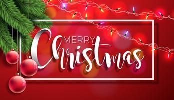 Ilustração do Feliz Natal no fundo vermelho com elementos da tipografia e do feriado, projeto do EPS 10 do vetor.