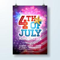 Dia da independência do EUA Party Flyer ilustração com bandeira e estrela de ouro. Vector Design de quatro de julho em fundo brilhante de fogo de artifício