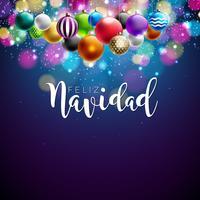 Ilustração do Natal com espanhol Feliz Navidad Typography e bola decorativa colorida no fundo azul brilhante. Vector Holiday Design para Premium Greeting Card, convite para festa ou Promo Banner.