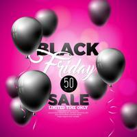 Ilustração preta do vetor da venda de sexta-feira com os balões brilhantes no fundo violeta.