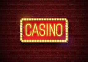 Ilustração de néon do sinal do casino no fundo da parede de tijolo. Vector bandeira luz ou design brilhante tabuleta.