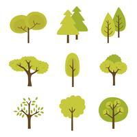 Tree Clipart Set Coleção de vetores