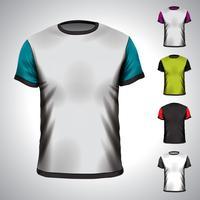 Modelo de design de t-shirt vector em várias cores.