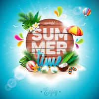 Vector a ilustração tipográfica do feriado das horas de verão no fundo da madeira do vintage.