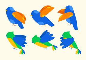 Vetores de conjunto de Clipart de pássaro exclusivo