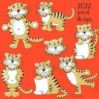 tigre na mão desenhar estilo. símbolo de 2022. coleção ano novo 2022 vetor