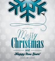 Vector a ilustração de Natal com design de flocos de neve em fundo claro