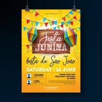 Ilustração do inseto do partido de Festa Junina com projeto da tipografia na placa da madeira do vintage. Bandeiras e lanterna de papel no fundo do céu azul. Vector Brazil June Festival Design