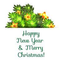 Cartão postal de saudação com o Natal e ano novo. vetor