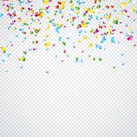 Ilustração colorida dos confetes do vetor no fundo transparente.