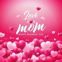 Feliz dia das mães cartão design com coração e te amo mãe tipográficos elementos sobre fundo vermelho. Vector celebração ilustração