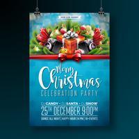 Projeto da festa de Natal feliz do vetor com elementos da tipografia do feriado e oradores no fundo brilhante. Ilustração de Fliyer de celebração. EPS 10