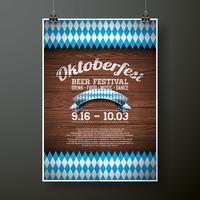 Ilustração em vetor cartaz Oktoberfest com bandeira no fundo de textura de madeira. Modelo de panfleto de celebração para o tradicional festival de cerveja alemã.