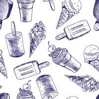 Esboço de plano de fundo sem emenda de sorvete Doodle vetor