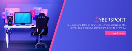 ESports local de trabalho cyber sportsman gamer vetor