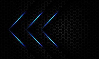 Resumo direção de seta de luz azul sobreposição em cinza escuro metálico hexágono padrão de malha design moderno luxo futurista fundo vetor