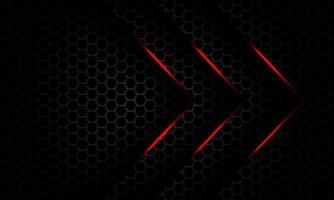 Resumo direção de seta de luz vermelha sobreposição em cinza escuro metálico hexágono padrão de malha design moderno luxo futurista fundo vetor