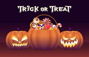 Dia das Bruxas travessura ou travessura de abóbora com doces e guloseimas vetor