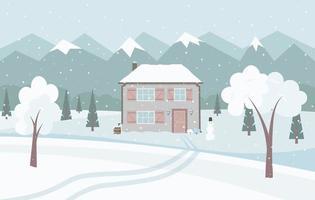 paisagem de inverno nevado branco com bonita casa de campo, montanhas, abetos e boneco de neve. vetor