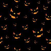 Ilustração sem emenda do teste padrão de Dia das Bruxas com as caras assustadores das abóboras no fundo preto.
