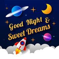 ilustração em vetor de desejar boa noite no fundo do céu roxo escuro com a lua. design de arte para web, site, publicidade, banner, cartaz, folheto, brochura, quadro, cartão