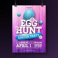 Vector Egg Hunt Easter Party Flyer Ilustração com ovos pintados, flores