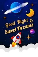 ilustração em vetor de desejar boa noite no fundo do céu azul escuro com a lua. design de arte para web, site, publicidade, banner, cartaz, folheto, brochura, quadro, cartão