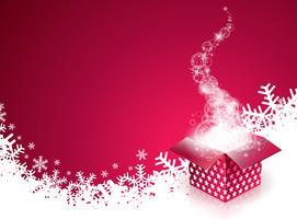 Vector a ilustração do feriado do Feliz Natal com a caixa de presente mágica e os flocos de neve no fundo vermelho.