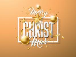 Ilustração do Feliz Natal do vetor com a bola de vidro do ouro, estrela de papel do entalhe e elementos da tipografia na luz - fundo marrom. Design de Férias