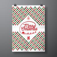Vector a ilustração do feriado do Feliz Natal e do ano novo feliz com projeto tipográfico e teste padrão abstrato da textura da cor no fundo limpo.