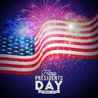 Presidentes felizes Dia da ilustração do vetor dos EUA. Design de celebração com bandeira