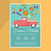 Modelo de vetor de panfleto de mercado do fazendeiro local plana