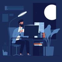 pessoa, trabalho tarde, negócios, personagem, noite, trabalhando, escritório, sentado, com, computador, pilhas, papel, conceito vetor